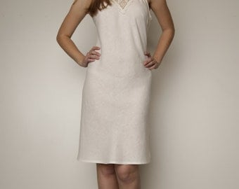 Linen night robe with the crochet front detail
