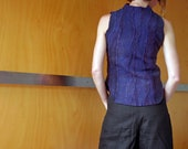 Purple sleeveless top, slip over, vest, nuno felted wool, size XS, natural designer clothing, eco friendly clothing, funky women's clothing