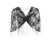 Plus Size Black Lace Shawl. 4-Options- Shrug, Shawl, Twisted Shawl And A Scarf. Gift For Her, Gift For Mom, Party Elegant Cover Up DL101