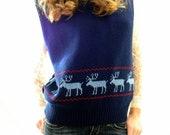1970's Vintage Reindeer Sweater Vest Scandinavian Sweater Christmas Holiday Winter