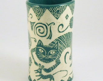 Whimsical Flower VASE Art Pottery - Sly CAT and MOUSE Sgraffito - Handmade Ceramic Art,Personalize Color,Mexican Folk Art Pottery Influenced