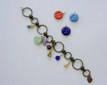 Custom jewelry tag. Personalized boho bracelet charms. Initial tag clay. Tag letter bracelet. Stylish. Custom initial. Eiffel tower charm