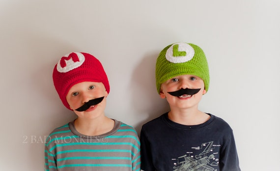 Super Mario & Luigi Hat set - Twin Hat Set, Twin Halloween costumes - Halloween costume - Boys costume - Photography props newborns baby