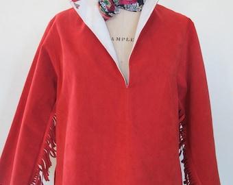 Red Suede Cowgirl Jacket, suede blouse, Fringe sleeves, V-neck Jumper, Red leather riding hood, Indian Vintage Homage