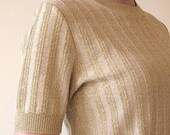 SALE Gold stripe lurex short sleeve sweater size m
