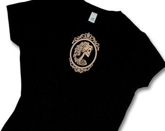 Lady Skeleton Cameo Fashion Womens' T Shirt-  Girly Skull-  Day of the Dead- skull