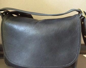 Vtg Coach Crossbody Black Leather Messenger Handbag