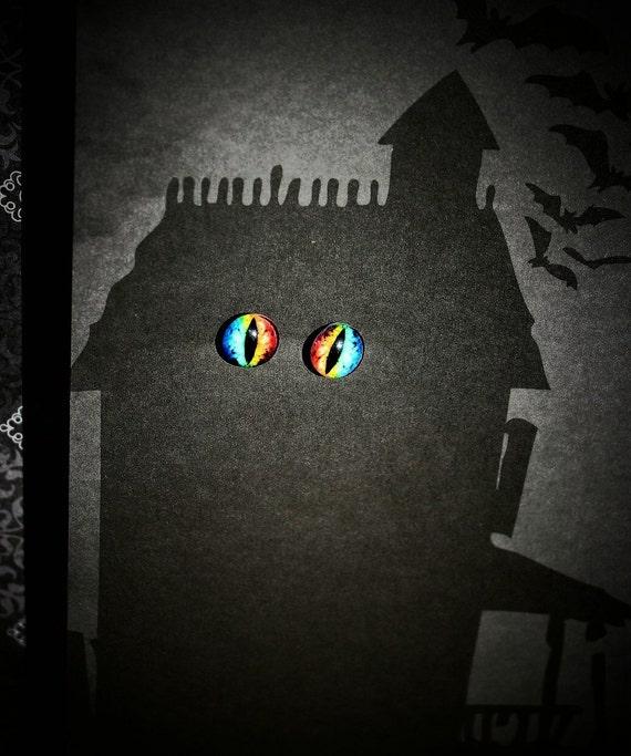 Rainbow Colored Evil or Dragon Eye Post Back Earrings