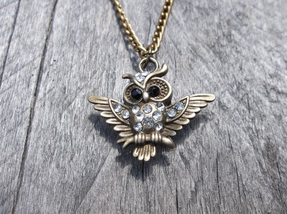 Clockpunk Steampunk Reversible Necklace, Stainless Steel Watch Movement with Swarovski Crystal & Brass Owl on Brass Curb Link Chain