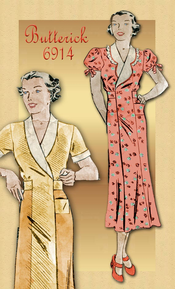 1930s Sewing Pattern Vintage Butterick 6914 Reversible