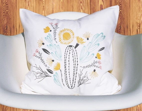 South floral and cactus flowers bouquet tribal bloom illustration removable throw pillow case cover linen cotton blend 16 inch square