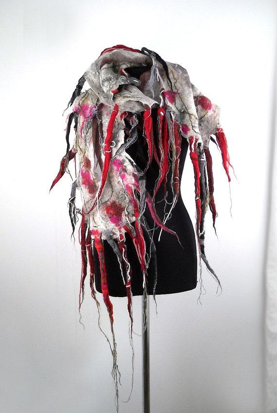 grey scarf felted scarf grey wrap designer scarf nunofelt