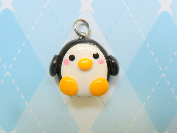Kawaii Penguin Charm Polymer Clay