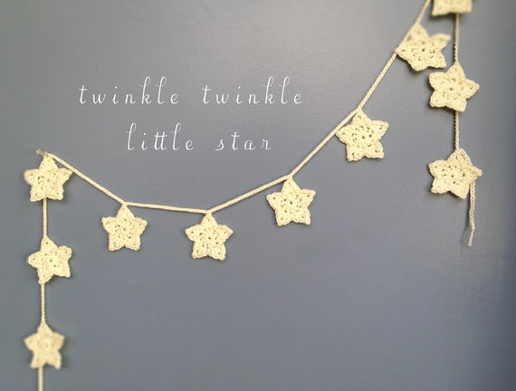 Twinkle white star garland holiday baby shower