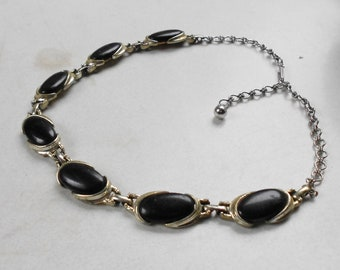 1940s jewelry Vintage Black necklace and metal choker necklace silver or pewter Free USA Ship