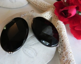 Onyx Earrings, Statement Earrings, Black Earrings, Sterling Silver Earrings, Black Onyx Statement Earrings,  Semi-precious Gemstone Earrings