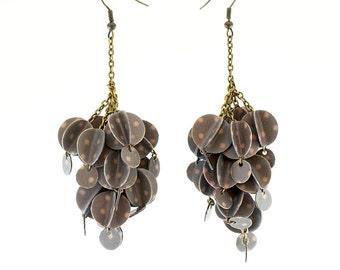 Chandelier Earrings- Paper Bead Jewelry- Eco Friendly Jewelry-Grey Earrings- Paper Jewelry