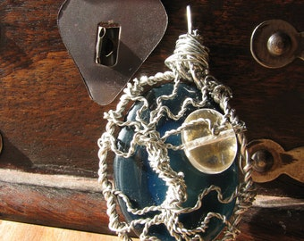 Blue Geode Tree of Life Pendant With Personalized Back