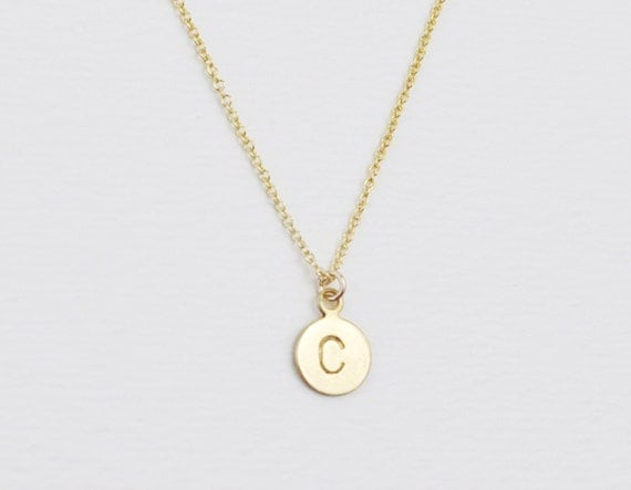 Initial necklace - brass charm - personalized necklace - monogram necklace - dainy necklace - delicate necklace - Brass initial