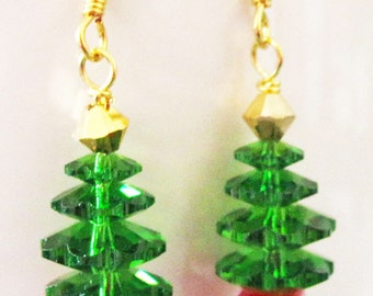 Swarovski Crystal Christmas Tree Earrings Handmade