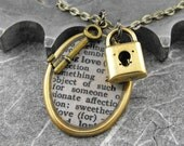 Love Definition Lock and Key Brass Necklace - Opening the Golden Gates of Happiness by COGnitive Creations