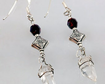Quartz Crystal Dangle Sterling French Hook Earrings Faceted Ruby Glass Beads