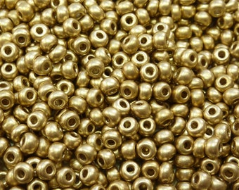 6/0 Matte Metallic Gold Czech Glass Seed Beads 20 Grams (CS26)
