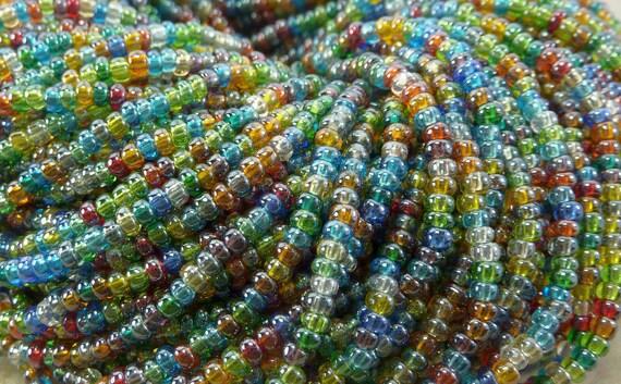 8/0 Transparent Rainbow Luster Mix Czech Glass Seed Bead Strand (CW63)