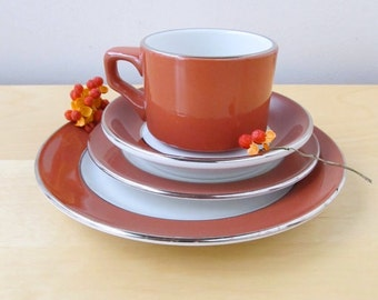 shenango restaurant china service for 12 thanksgiving brunch red orange silver dish set