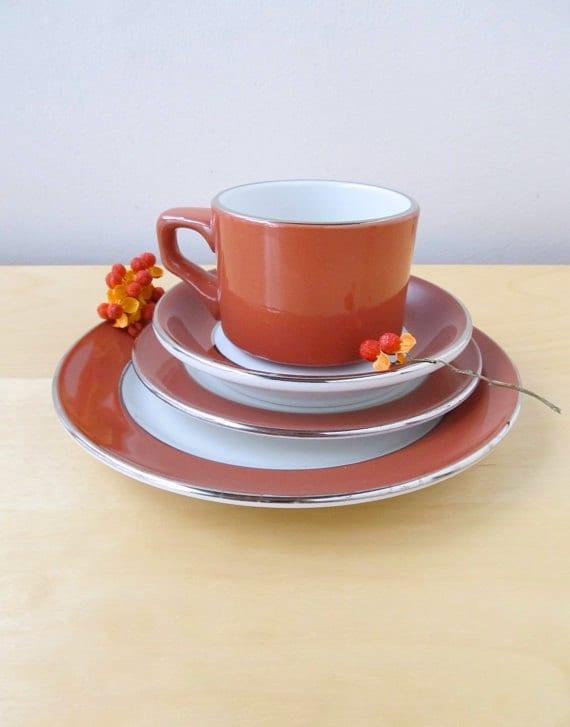 shenango restaurant china service for 12 thanksgiving brunch red orange silver dish set