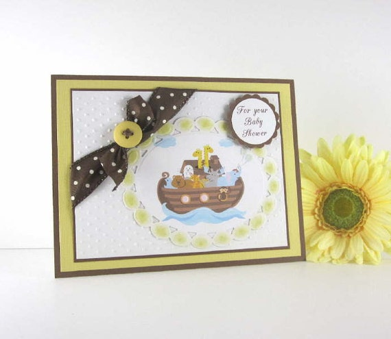 Noahs Ark Baby Shower card, personalized gender neutral, baby girl, baby boy, yellow brown