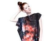 Crimson Galaxy Print Dress