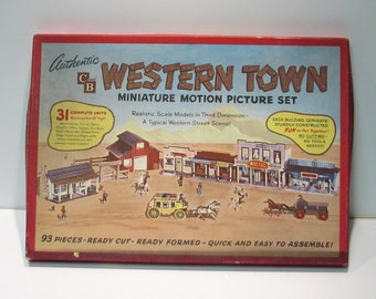 Motion Picture Western Town Mid Century Miniature Play Set Vintage 1950s C and B Co. Hollywood Set