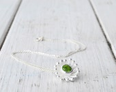Green Peridot Flower Necklace, Delicate Sterling Silver Gemstone Pendant and Chain, August Birthstone Gift Idea, Green Peridot Jewelry