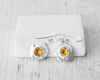 Citrine Earrings, Sterling Silver Earring, Minimalist Dainty Earring, November Birthstone, Bridal Citrine Jewelry, Dangle Round Earrings