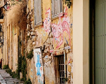 Greece Photography - Golden Yellow and Pink Decor Athens Photo Rustic Street Scene Print Graffiti Wall Art Greek Travel Photograph