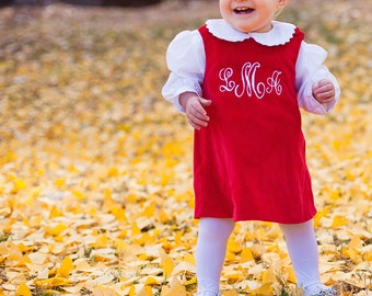 Girls Monogrammed Red Corduroy Jumper Dress -- Perfect for Christmas