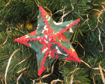 Star Christmas Ornament, Embellished Paper Mache Star, Tree Ornament, Red & Green Tree Ornament, Star Ornament, OOAK, Holly SnowNoseCrafts