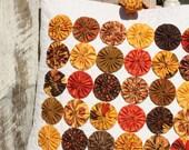 SaLE - Quilted Yo-yo Pillow Cover - Phenomenal Fall - REaDy to SHip