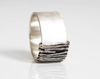 Wide silver ring, Silver statement ring, Contemporary ring, Modern silver ring, Wedding silver band, Engagement bands, Wedding jewelry, Band