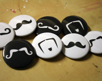 Mustache Buttons   Keychains Pins or Magnets!