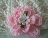 Chic, Handmade, Crochet, Lacey,Pink,Cream, Primrose, Girl, Beanie