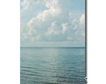 Ocean Landscape Photo Pale Slate Blue Horizon Beach Print, Billowing Cotton Candy Cloud Photography Cornflower Blue Rippling Waves Sea & Sky