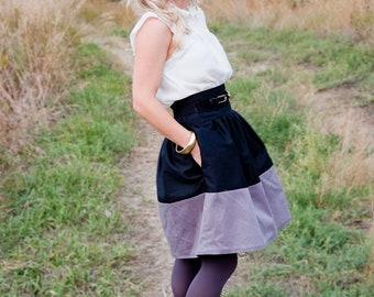 Full, Highwaisted Pocket Skirt, Black and Gray