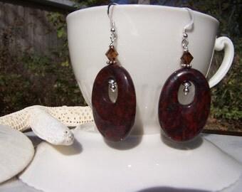 Aimee's brecciated jasper go-go earrings, Jasper Earrings, Brecciated Jasper Earrings, Gemstone Earrings, Statement Earrings, Stone Earrings