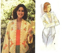 MISSES' SIZE 12 VINTAGE Light Jacket Sewing Pattern and Embroidery Transfer - Vintage 80's Butterick 5436 - Hi-Lo Hem, Very Gently Used