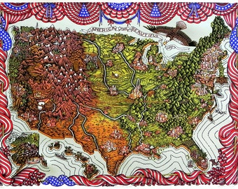 America the Beautiful - Woodcut Print, Woodblock Print by Tugboat Printshop | Topographic United States Map,