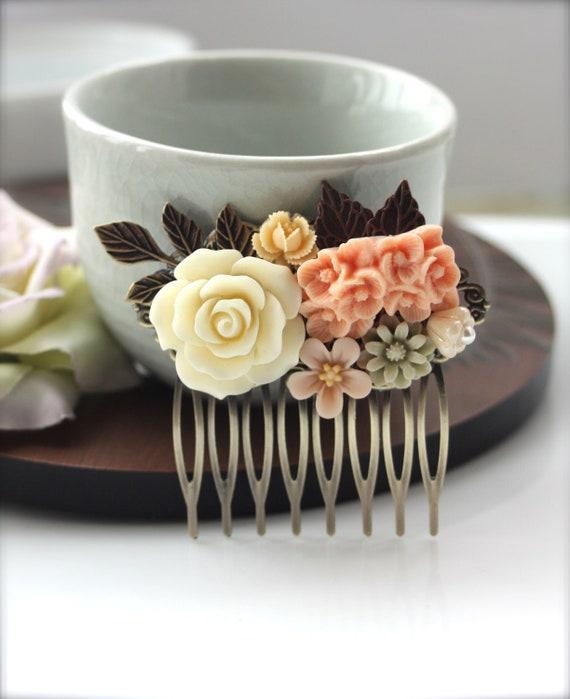 Peach Wedding Ivory Peach Antiqued Brass Leaf Vintage Style Hair Comb Bridal Maid Of Honour Sis Bridesmaid Hair Accessories Woodland Wedding