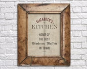 Personalized Kitchen Print in French Grain Sack Style