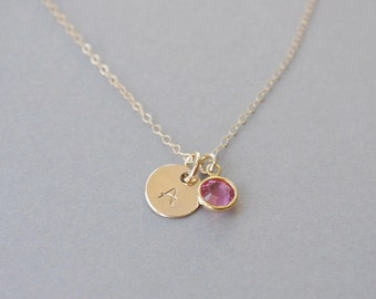 Girl Initial Necklace, Little Girl Necklace, Personalized Necklace Girl, Birthstone Necklace, Birthday Gift, Girls Jewelry, Initial Jewelry